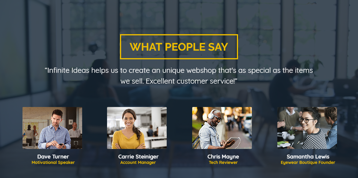 Clean and beautiful slider which shows four testimonials.