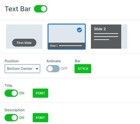 Text bar control