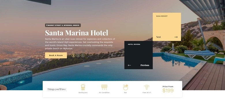Hotel homepage example slider