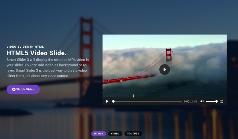 Mixed full width video slider