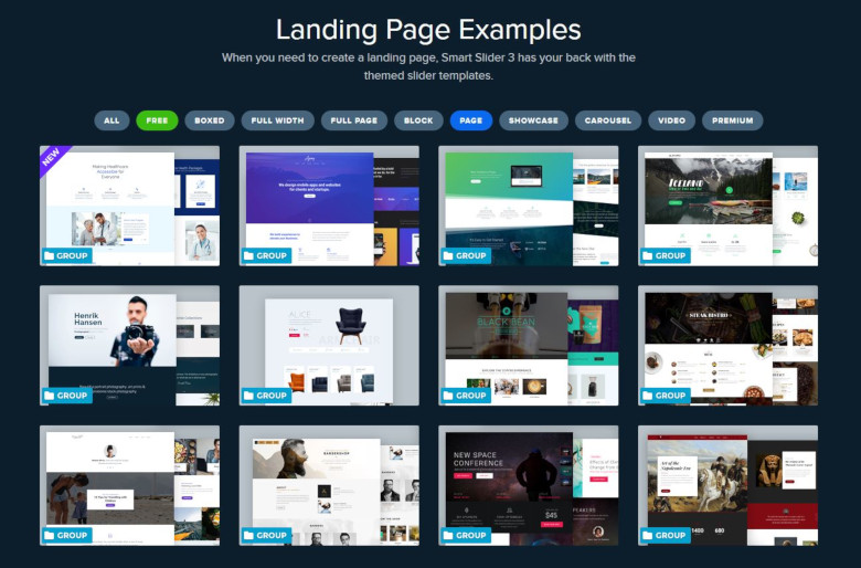 Landing Page examples in Smart Slider 3