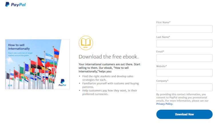 Landing Page at PayPal
