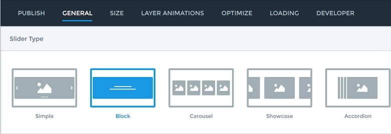 Available slider types in Smart Slider 3