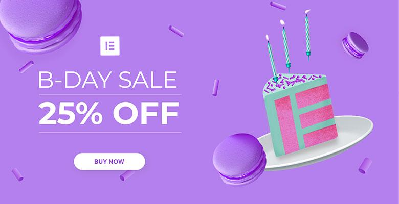 Elementor birthday sale, 25% off