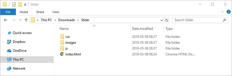 Exported files
