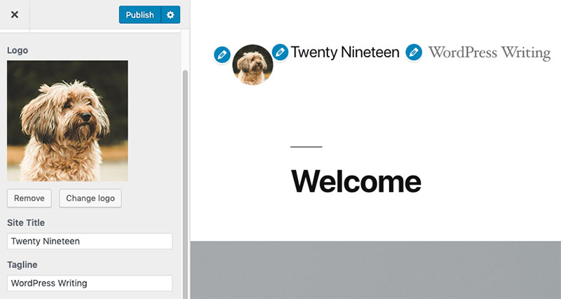 Changing your site logo in Twenty Nineteen theme's customizer