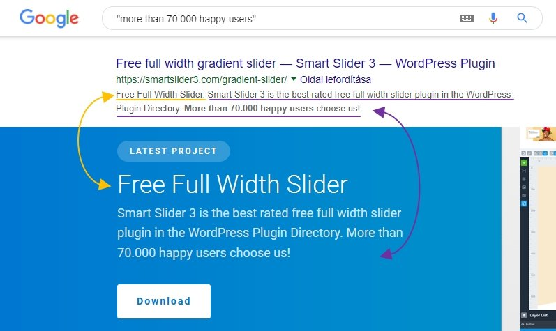 search engine reads text from slider