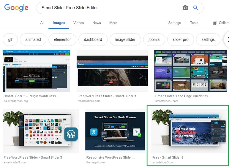 seo slider proof image search result