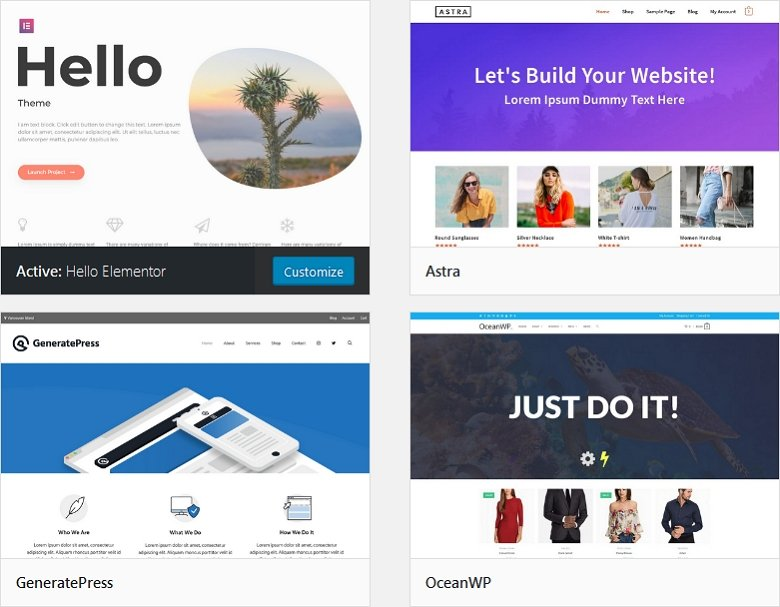 Best themes for Elementor: Hello Elementor, Astra, OceanWP, GeneratePress