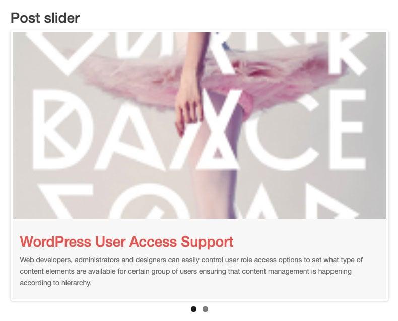 Post slider in WPBakery