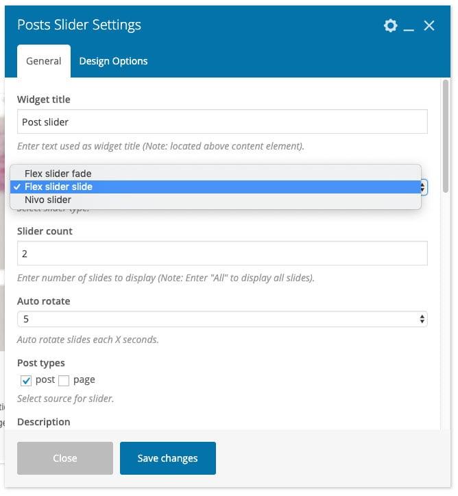 WPBakery Post Slider settings