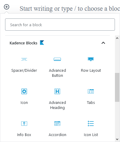 Some of the blocks Kadence Blocks plugin offers