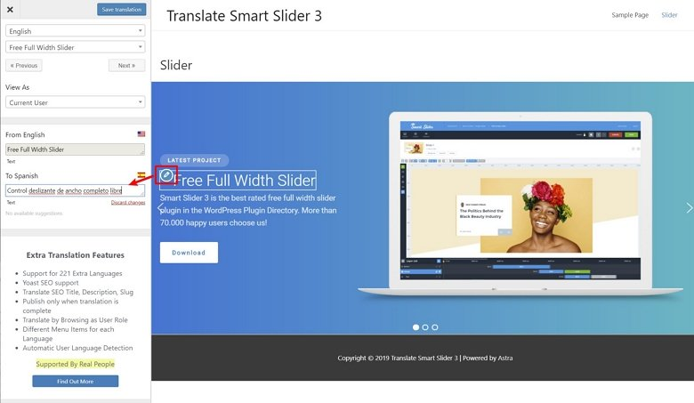 translate smart slider 3 with translatepress