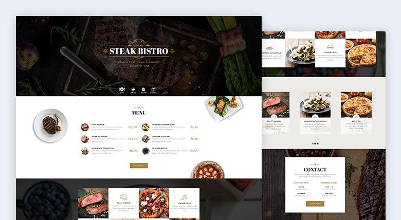 Steak Bistro Landing Page