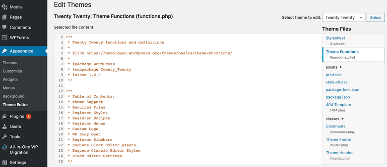 Editing the functions.php of the theme