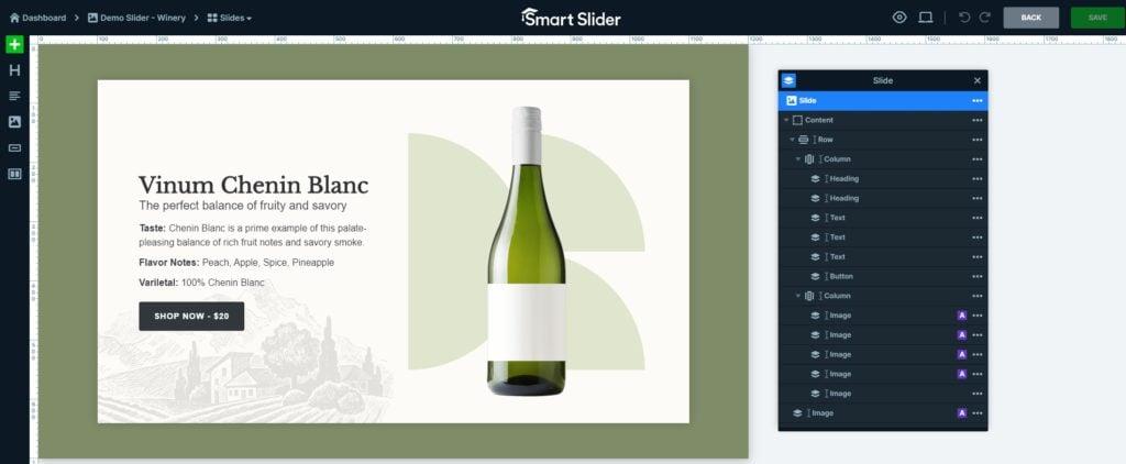 Layer list in Smart Slider