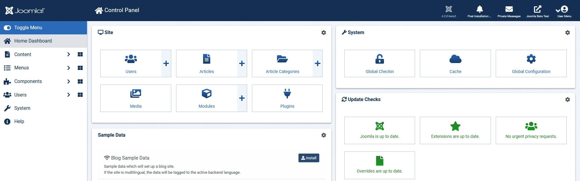Brand new dashboard of Joomla 4