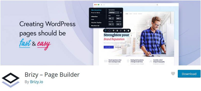 Brizy - one of the best Free WordPress page builder plugins