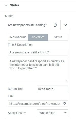 Slider content options in Elementor