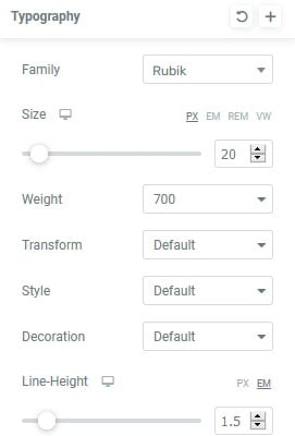 Elementor Styling options