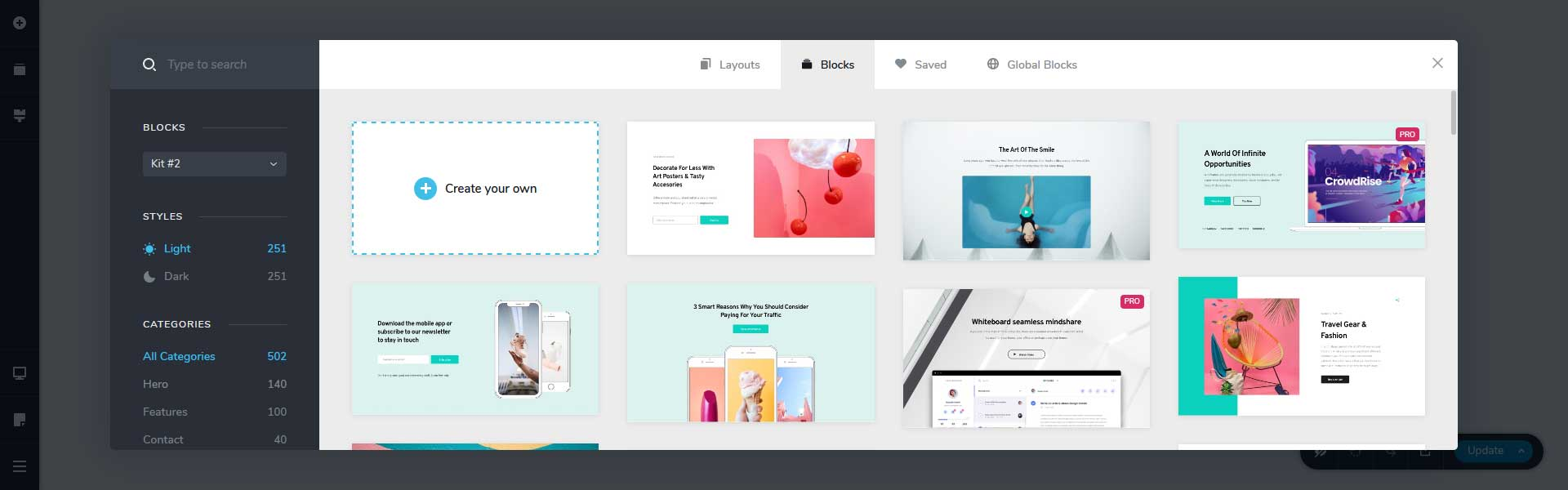Beautiful templates in Brizy