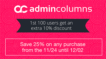 admin columns black friday deal