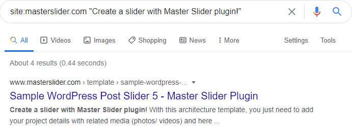 Google reads the text Master Slider creates well