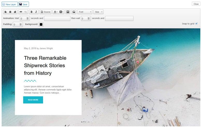 Layer Slide editor in Meta Slider
