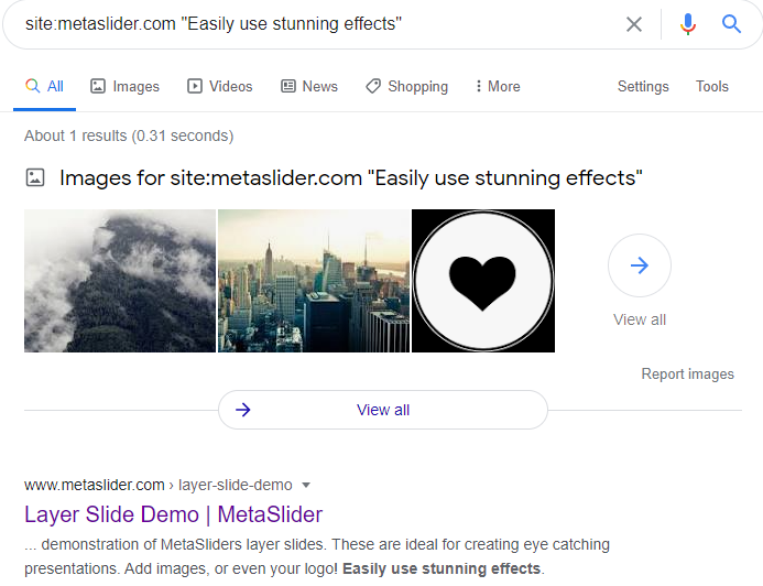 Search engines can read the content of Meta Slider