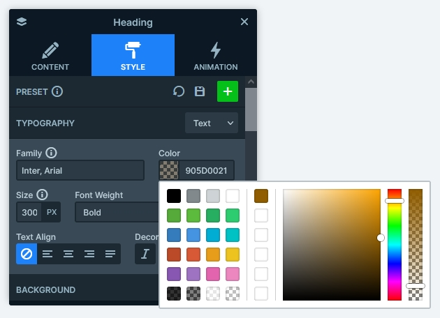 Color picker with the semi-transparent font color