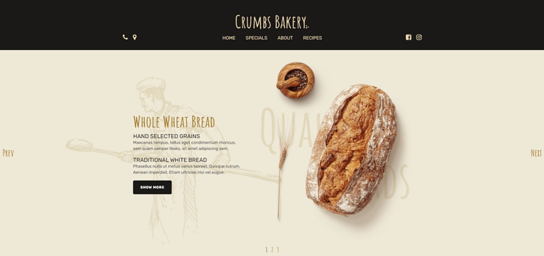 Bakery one page template