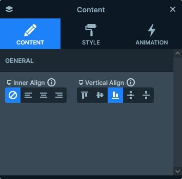 Vertical align on the Content layer
